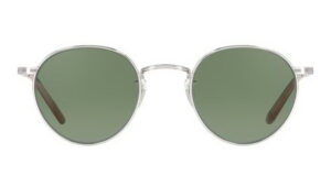 Garrett Leight Wilson SUN SB 46 Silver Blonde Semi Flat Green front