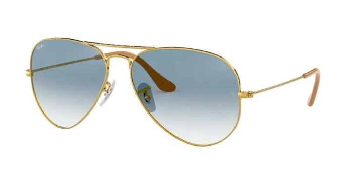 Ray Ban RB3025 001/3F gold crystal gradient light blue crystal lenses