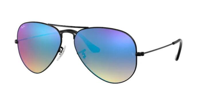 Ray Ban RB3025 002/4O shiny black mirror gradient blue