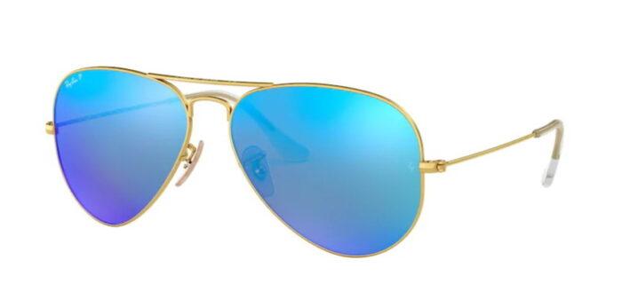 Ray Ban RB3025 112/4L matte gold blue mirror polar verspiegelt
