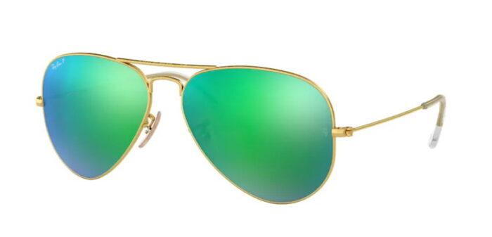 Ray Ban RB3025 112/P9 matte gold green mirror polar verspiegelt