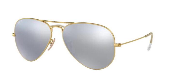 Ray Ban RB3025 112/W3 matte gold dark grey mirror polar verspiegelt