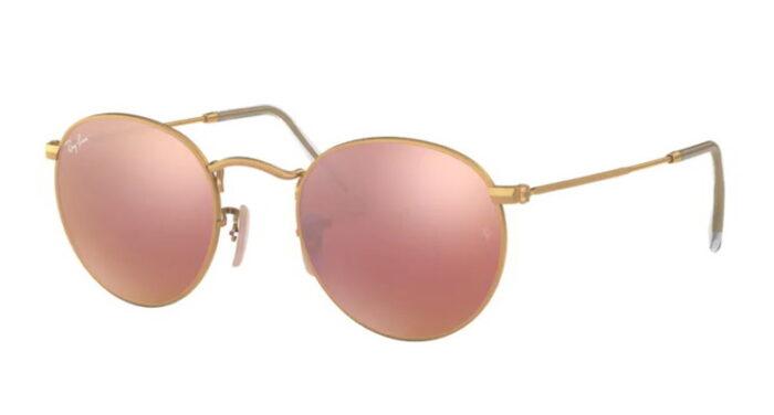 Ray Ban RB 3447 112/Z2 Matte gold brown mirror pink lens