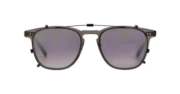 Garrett Leight Brooks Clip On 47 Black Silver Mirage Mirror grau verlaufend leicht verspiegelt