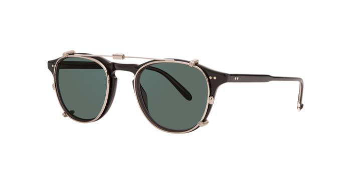 Garrett Leight Hampton M Clip On S/G15 Silver green grau-grüne Gläser 75% uni side