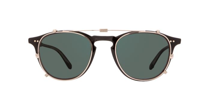 Garrett Leight Hampton M Clip On S/G15 Silver green grau-grüne Gläser 75% uni
