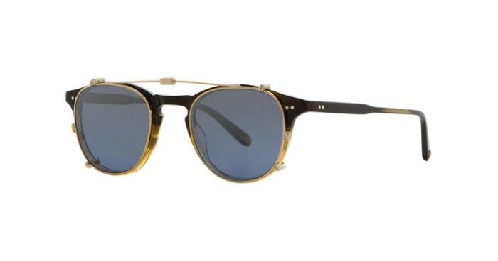 Garrett Leight Hampton M Clip On G/BLUSHM Gold Blue Shadow Mirror verspiegelt side
