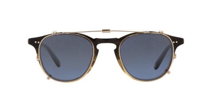 Garrett Leight Hampton M Clip On G/BLUSHM Gold Blue Shadow Mirror verspiegelt